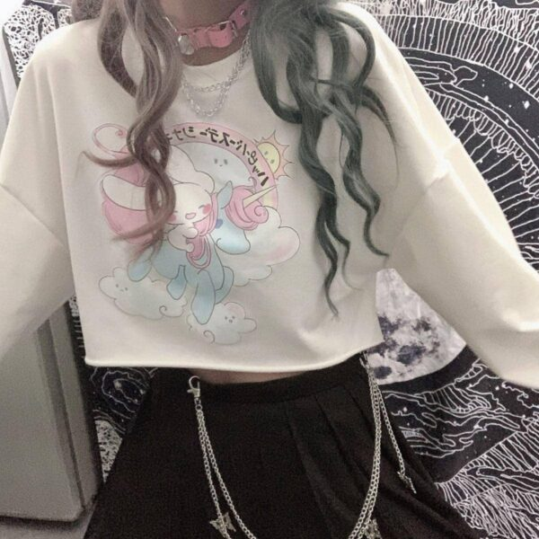 Cute Bunny Riding Unicorn Crop Sweatshirt - Orezoria Aesthetic Outfits Shop - Aesthetic Clothing - eGirl Outfits - Soft Girl Outfits.psd