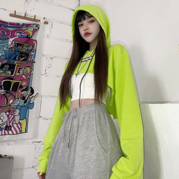 Neon Green Burger Cropped Hoodie - Orezoria Aesthetic Outfits Shop - Aesthetic Clothing - eGirl Outfits - Soft Girl Outfits.psd