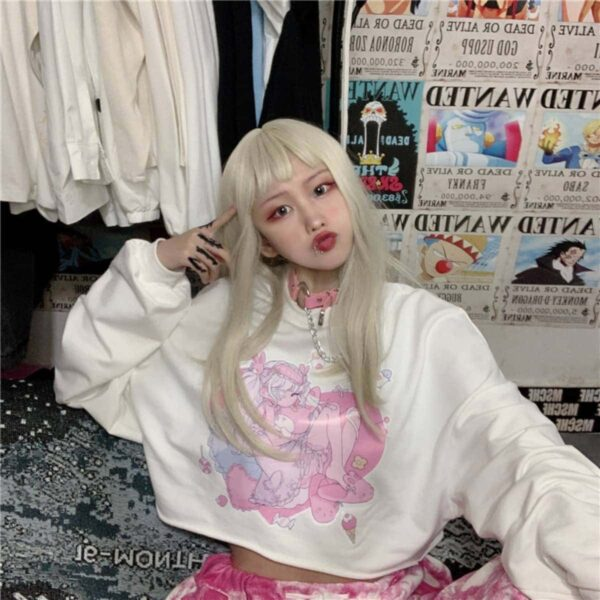 One Eyed Anime Loli Cropped Sweatshirt