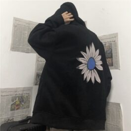 4 Unidrone Lost Petal Loose Black Hoodie - Orezoria Aesthetic Outfits Shop - Aesthetic Clothing - eGirl Outfits - Soft Girl Outfits.psd