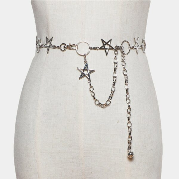 5 Point Pentagram Star Chain Grunge Belt (2)- Orezoria Aesthetic Outfits Shop - Aesthetic Clothing - eGirl Outfits - Soft Girl Outfits