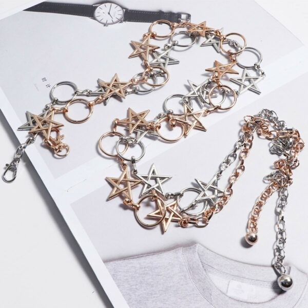 5 Point Pentagram Star Chain Grunge Belt (4)- Orezoria Aesthetic Outfits Shop - Aesthetic Clothing - eGirl Outfits - Soft Girl Outfits