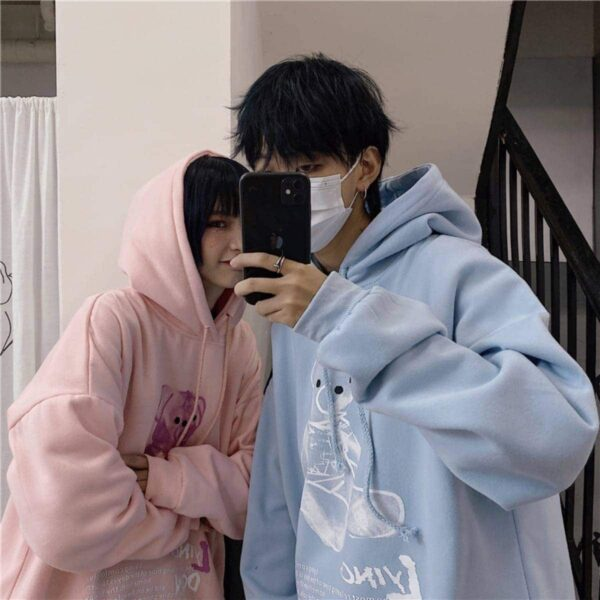 Soft Pastel Bear Drawing Loose Hoodie - Orezoria Aesthetic Outfits Shop - Aesthetic Clothing - eGirl Outfits - Soft Girl Outfits.psd