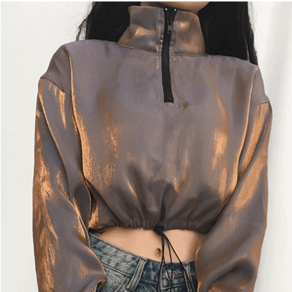 90s Aesthetic High Neck Crop Long Sleeve - Orezoria Aesthetic Outfits Shop - Aesthetic Clothing - eGirl Outfits - Soft Girl Outfits.psd