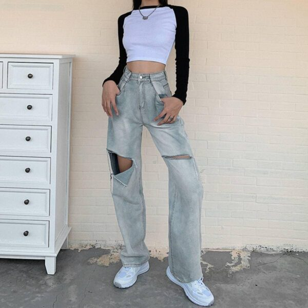90s Aesthetic Loose Ripped Jeans.1- Orezoria Aesthetic Outfits Shop - Aesthetic Clothing - eGirl Outfits - Soft Girl Outfits