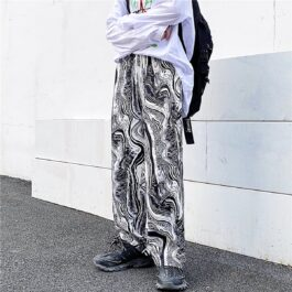 Abstract Flow Design Wide Straight Pants 1- Orezoria Aesthetic Outfits Shop - Aesthetic Clothing - eGirl Outfits - Soft Girl Outfits