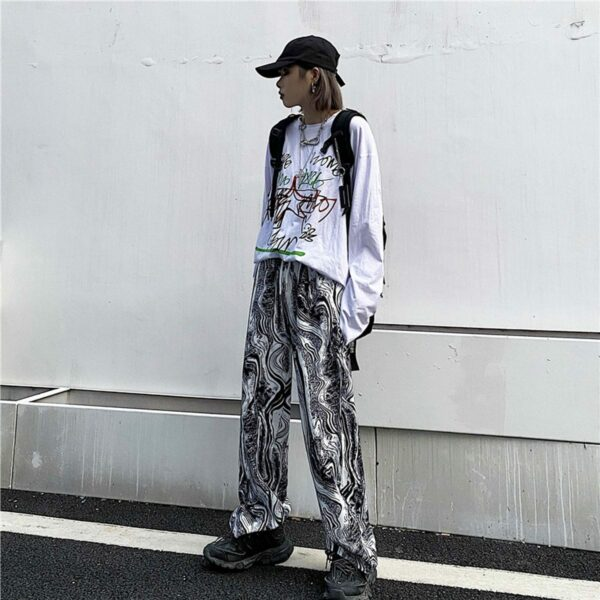 Abstract Flow Design Wide Straight Pants 3- Orezoria Aesthetic Outfits Shop - Aesthetic Clothing - eGirl Outfits - Soft Girl Outfits