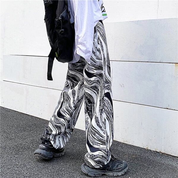 Abstract Flow Design Wide Straight Pants 4- Orezoria Aesthetic Outfits Shop - Aesthetic Clothing - eGirl Outfits - Soft Girl Outfits