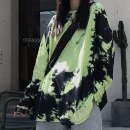 Acid Lizzard Loose Tie Dye Long Sleeve.1- Orezoria Aesthetic Outfits Shop - Aesthetic Clothing - eGirl Outfits - Soft Girl Outfits