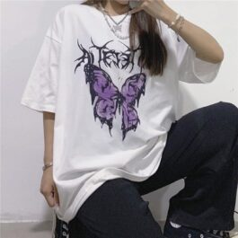 Aetherial Butterfly Loose T-Shirt 1 - Orezoria Aesthetic Outfits Shop - Aesthetic Clothing - eGirl Outfits - Soft Girl Outfits