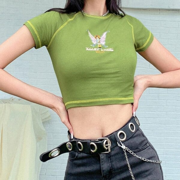 Alien Angel Dream Green Crop Top 1 - Orezoria Aesthetic Outfits Shop - Aesthetic Clothing - eGirl Outfits - Soft Girl Outfits