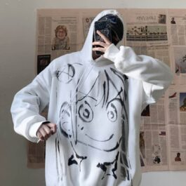 Anime Girl Up to Something Loose Hoodie 1- Orezoria Aesthetic Outfits Shop - Aesthetic Clothing - eGirl Outfits - Soft Girl Outfits