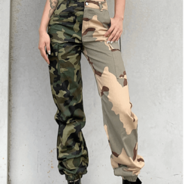 Army Camouflage Split Leg Cargo Pants - Orezoria Aesthetic Outfits Shop - Aesthetic Clothing - eGirl Outfits - Soft Girl Outfits.psd