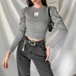 Asymmetric Strap Bubble Sleeve Top - Orezoria Aesthetic Outfits Shop - Aesthetic Clothing - eGirl Outfits - Soft Girl Outfits.psd