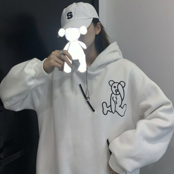 Autistic Bear Embroidery Hoodie 1- Orezoria Aesthetic Outfits Shop - Aesthetic Clothing - eGirl Outfits - Soft Girl Outfits