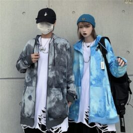 Azure Tie Dye Aesthetic Loose Hoodie - Orezoria Aesthetic Outfits Shop - Aesthetic Clothing - eGirl Outfits - Soft Girl Outfits.psd