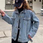 Back Embroidery Vintage Core Denim Jacket.1- Orezoria Aesthetic Outfits Shop - Aesthetic Clothing - eGirl Outfits - Soft Girl Outfits