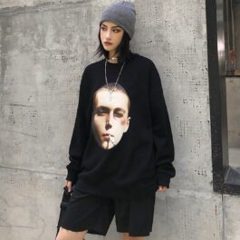 Bad Kid Smoking Face Print Sweatshirt 1- Orezoria Aesthetic Outfits Shop - Aesthetic Clothing - eGirl Outfits - Soft Girl Outfits