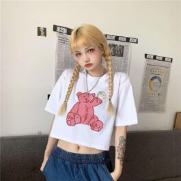 Bear with a Flower Crop Top 1 - Orezoria Aesthetic Outfits Shop - Aesthetic Clothing - eGirl Outfits - Soft Girl Outfits