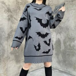 Black Bats Long Oversized Gray Sweater 1- Orezoria Aesthetic Outfits Shop - Aesthetic Clothing - eGirl Outfits - Soft Girl Outfits