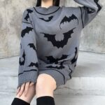 Black Bats Long Oversized Gray Sweater 2- Orezoria Aesthetic Outfits Shop - Aesthetic Clothing - eGirl Outfits - Soft Girl Outfits