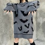 Black Bats Long Oversized Gray Sweater 3- Orezoria Aesthetic Outfits Shop - Aesthetic Clothing - eGirl Outfits - Soft Girl Outfits