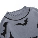 Black Bats Long Oversized Gray Sweater 5- Orezoria Aesthetic Outfits Shop - Aesthetic Clothing - eGirl Outfits - Soft Girl Outfits