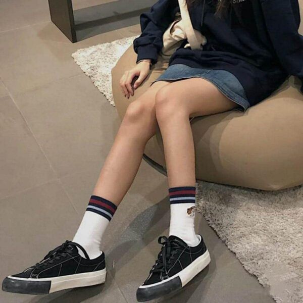 Black Contrast Stitch Korean Canvas Shoes - Orezoria Aesthetic Outfits Shop - Aesthetic Clothing - eGirl Outfits - Soft Girl Outfits.psd