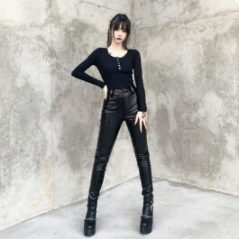 Black Core High Waisted Snake Skin Pants 1- Orezoria Aesthetic Outfits Shop - Aesthetic Clothing - eGirl Outfits - Soft Girl Outfits
