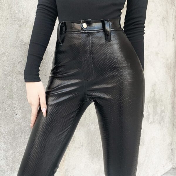 Black Core High Waisted Snake Skin Pants 2- Orezoria Aesthetic Outfits Shop - Aesthetic Clothing - eGirl Outfits - Soft Girl Outfits