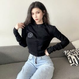 Black Faculty Long Sleeve Cradigan 1 - Orezoria Aesthetic Outfits Shop - Aesthetic Clothing - eGirl Outfits - Soft Girl Outfits