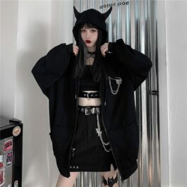 Black Horns Hood Devil Oversized Hoodie.1- Orezoria Aesthetic Outfits Shop - Aesthetic Clothing - eGirl Outfits - Soft Girl Outfits
