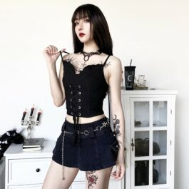 Black Laced Goth Aesthetic Corset Top 2- Orezoria Aesthetic Outfits Shop - Aesthetic Clothing - eGirl Outfits - Soft Girl Outfits