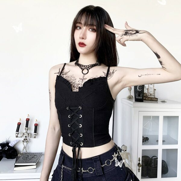 Black Laced Goth Aesthetic Corset Top 4- Orezoria Aesthetic Outfits Shop - Aesthetic Clothing - eGirl Outfits - Soft Girl Outfits