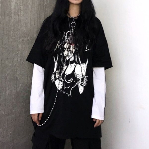 Black Metal Girl Grunge Long Sleeve 1 - Orezoria Aesthetic Outfits Shop - Aesthetic Clothing - eGirl Outfits - Soft Girl Outfits.psd