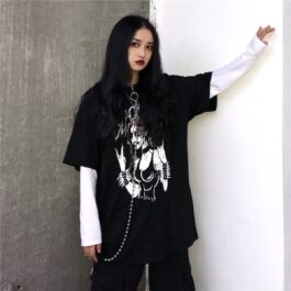 Black Metal Girl Grunge Long Sleeve 2 - Orezoria Aesthetic Outfits Shop - Aesthetic Clothing - eGirl Outfits - Soft Girl Outfits.psd