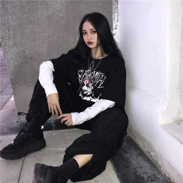 Black Metal Girl Grunge Long Sleeve 3 - Orezoria Aesthetic Outfits Shop - Aesthetic Clothing - eGirl Outfits - Soft Girl Outfits.psd