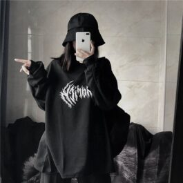 Black Metal Logo Korean Grunge Top - Orezoria Aesthetic Outfits Shop - Aesthetic Clothing - eGirl Outfits - Soft Girl Outfits.psd