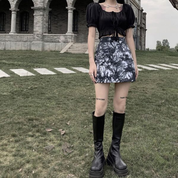 Black Plague Core Tie Dye Aesthetic Skirt.1- Orezoria Aesthetic Outfits Shop - Aesthetic Clothing - eGirl Outfits - Soft Girl Outfits