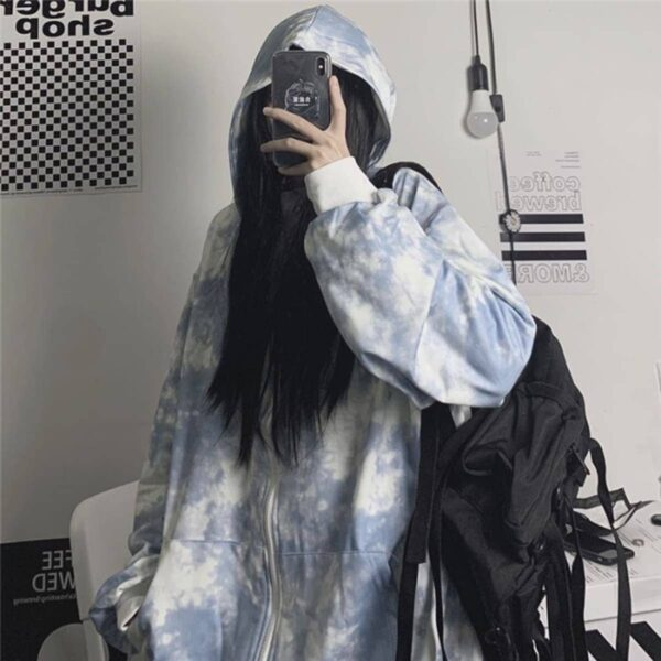 Black Plague Tie Dye Zipper Hoodie 2 - Orezoria Aesthetic Outfits Shop - Aesthetic Clothing - eGirl Outfits - Soft Girl Outfits.psd