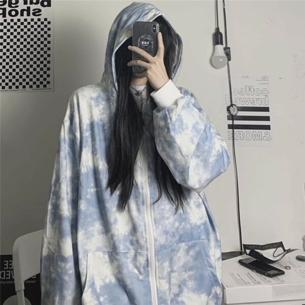 Black Plague Tie Dye Zipper Hoodie 3 - Orezoria Aesthetic Outfits Shop - Aesthetic Clothing - eGirl Outfits - Soft Girl Outfits.psd