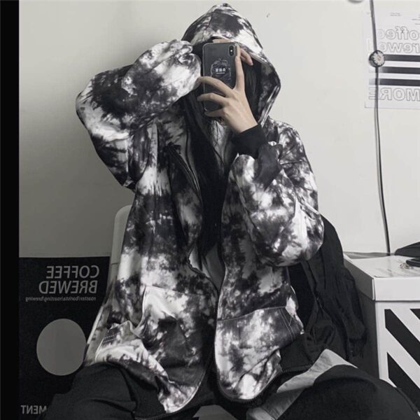 Black Plague Tie Dye Zipper Hoodie 4 - Orezoria Aesthetic Outfits Shop - Aesthetic Clothing - eGirl Outfits - Soft Girl Outfits.psd