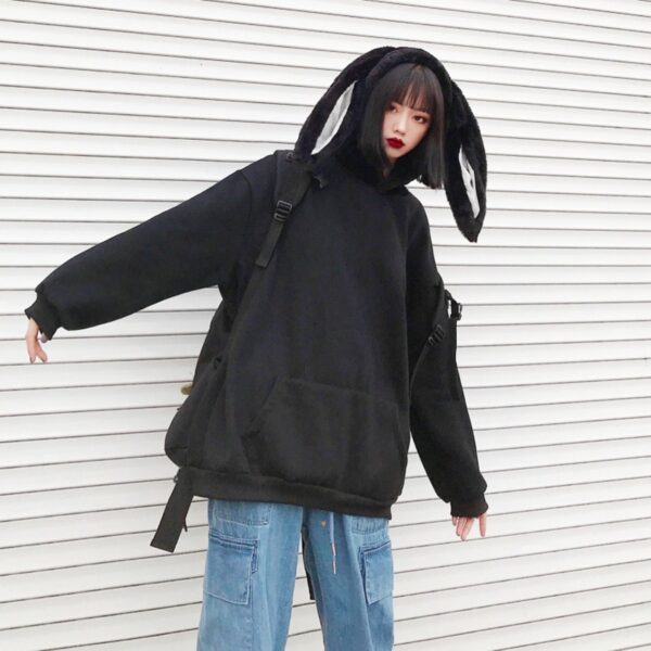Black Rabbit Hood Oversized Hoodie 1- Orezoria Aesthetic Outfits Shop - Aesthetic Clothing - eGirl Outfits - Soft Girl Outfits