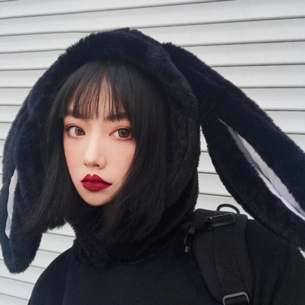 Black Rabbit Hood Oversized Hoodie 2- Orezoria Aesthetic Outfits Shop - Aesthetic Clothing - eGirl Outfits - Soft Girl Outfits