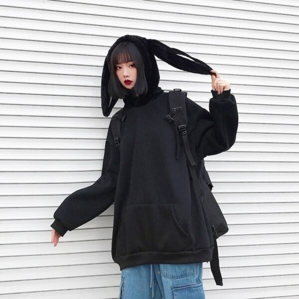 Black Rabbit Hood Oversized Hoodie 3- Orezoria Aesthetic Outfits Shop - Aesthetic Clothing - eGirl Outfits - Soft Girl Outfits