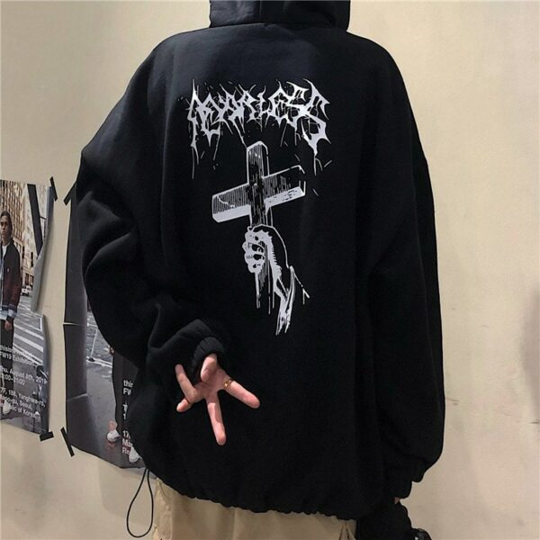 Black Religion Cross Loose Hoodie.1- Orezoria Aesthetic Outfits Shop - Aesthetic Clothing - eGirl Outfits - Soft Girl Outfits