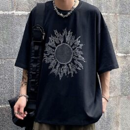 Black Sun T-Shirt Oversized Aesthetic 1 - Orezoria Aesthetic Outfits Shop - Aesthetic Clothing - eGirl Outfits - Soft Girl Outfits