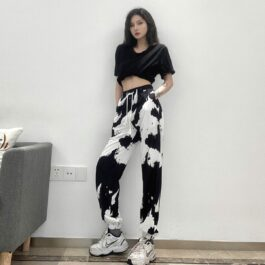 Black and White Stains Workout Pants 2- Orezoria Aesthetic Outfits Shop - Aesthetic Clothing - eGirl Outfits - Soft Girl Outfits