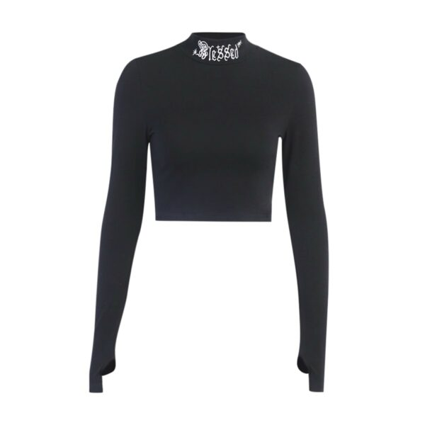 EGirl Outfits - Blessed Neck Embroidely Long Sleeve - Orezoria Shop