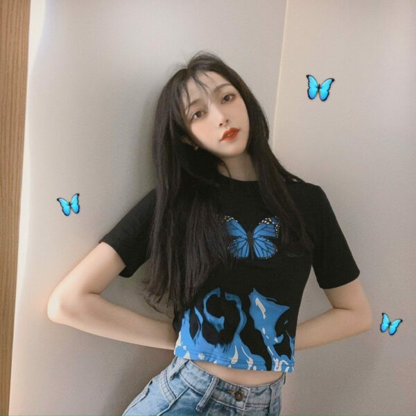 Blue Flames Butterfly Aesthetic Crop Top 1- Orezoria Aesthetic Outfits Shop - Aesthetic Clothing - eGirl Outfits - Soft Girl Outfits